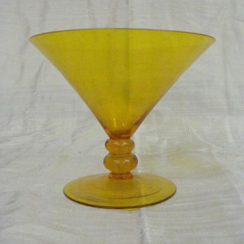 set of two yellow glass - Art Glass