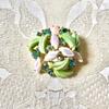 Schiaparelli Iridescent Pastel Green Molded Carnival Glass Rhinestone Brooch