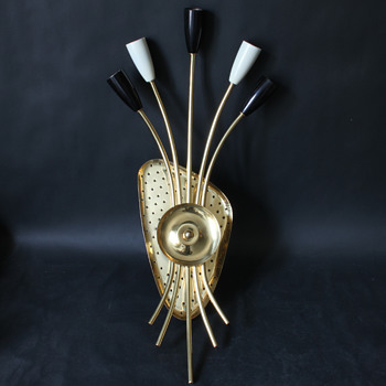 1950s brass five armed wall lamp - Lamps