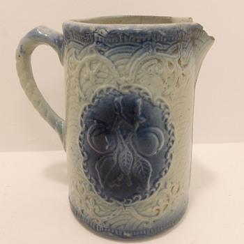 Blue & White Stoneware Pitcher - Apricots - Pottery