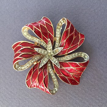 A  Red Trifari Bow  - Costume Jewelry