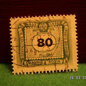 1953 Magyar Posta 80 Filler Stamp ~ Used