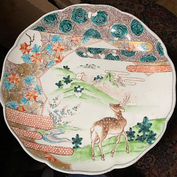 Shallow Bowl - Japanese with Deer and Rat/Squirrel - Asian