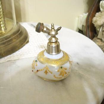 White milk glass Victorian perfume bottle - Bottles