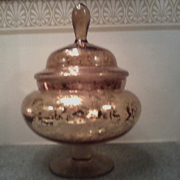 """Huge"" Mid Century /Weeping Gold / Italian Art Glass /Apothecary Jar"