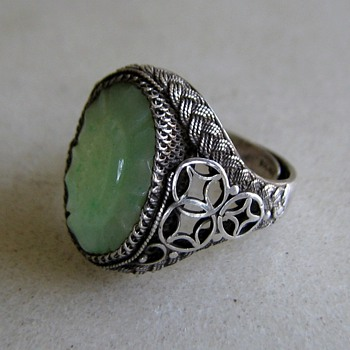 Silver filigree and jade? carved sunflower ring