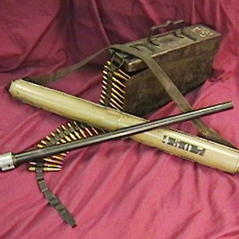 WW II German MG-34 Spare Barrel & Carrier with Ammo Can - Military and Wartime
