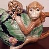 Fitz and Floyd monkey teapot, monkey brooch