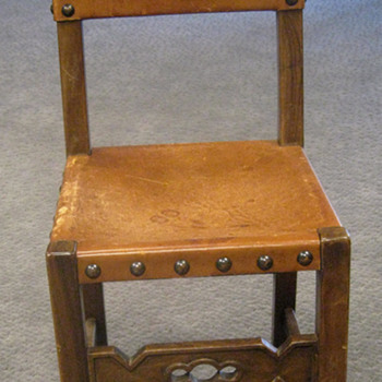 Spanish style leather and wood chair - Furniture