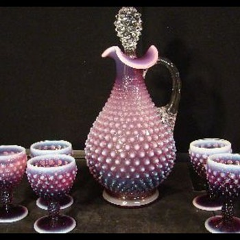 FENTON PLUM OPALESCENT HOBNAIL  DECANTER AND 6 WINE GOBLETS!
