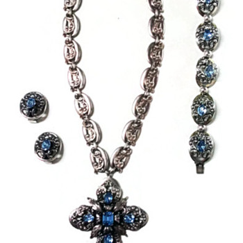 Vintage Napier Light Sapphire Rhinestone Silver Die-Stamped Set - Costume Jewelry