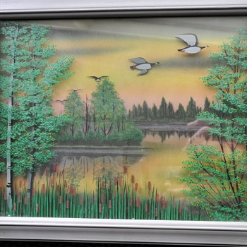 1950s 3D painting on stacked sheets of glass. - Fine Art