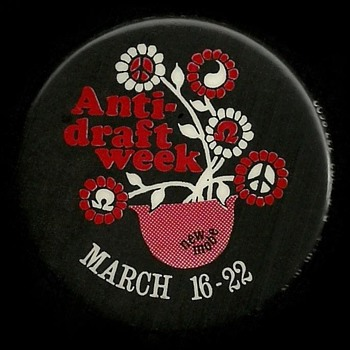 New MOBE Anti Draft Week Vietnam Pinback Button