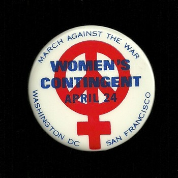 Three 1971 Woman's March Vietnam Protest Pinback Button's