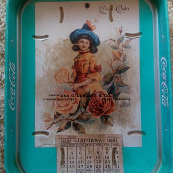 1891 January Green Calendar Tray - Coca-Cola