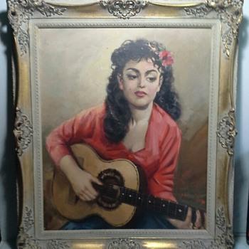 1950s gipsy girl painting - Fine Art