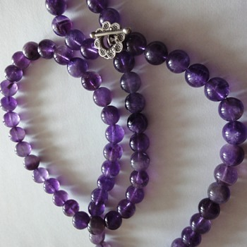 Beautiful Large Amethyst Round bead Silver Clasp Necklace  - Fine Jewelry