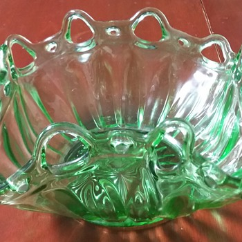 Uranium Green Depression Glass Bowl - Glassware