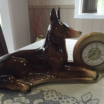 Jema Holland Large German Shepherd  Mantle Clock numbered (461)