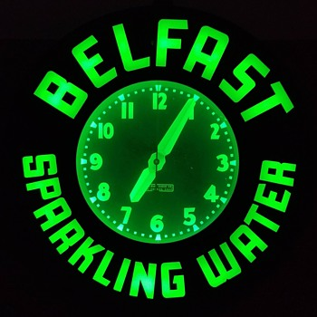 Belfast Sparkling Water Green Neon Clock, Glo-Dial, Los Angeles, ca 1940s-1950s - Clocks