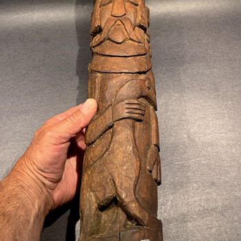 Vintage wood totem carving English Knights with dragon ?? - Folk Art