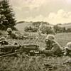 WWI MACHINE GUN SQUAD IN STALHELMS AND GAS MASKS