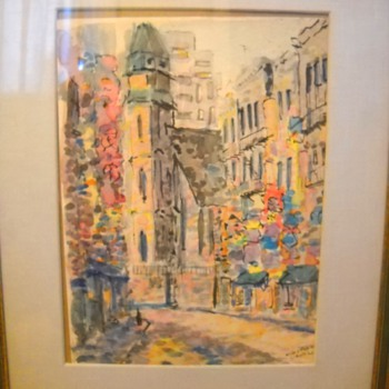 """1965 Mott & Pell Street China Town New York Watercolor Painting signed """"Laing"""""""