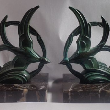 Gallot Spelter Flying Bird Bookends - Books