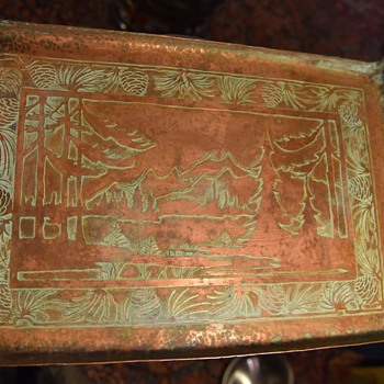 Large Hammered and Etched Copper Tray - Arts and Crafts