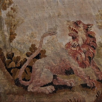 French 18th Century Aubusson Panel Pillow Fables of Jean De La Fontaine - Rugs and Textiles