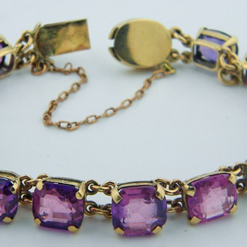 Vintage Art Deco Natural Purple Sapphire 14k Bracelet  - Fine Jewelry