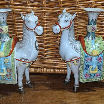Chinese Horse Candle Holders - Asian