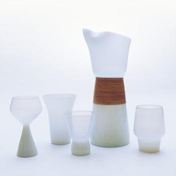OPALINE jug and glasses, Jacob E. Bang (Kastrup, 1957) - Art Glass