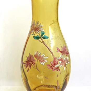 Legras Amber Enameled Vase with Witch Hazel Flowers - Art Glass