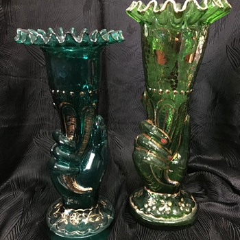 Some more glass hand vases of the Victorian era. - Art Glass