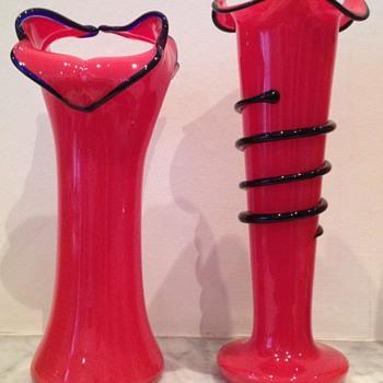 Pair of Welz (?) red tango vases - Art Glass