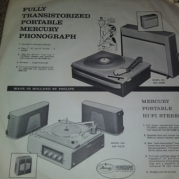 Mercury Phonographs...On Inner Album Sleeve - Advertising