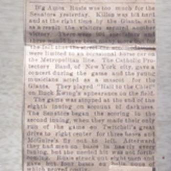 Washington Senators 1892 Baseball Newspaper Clipping - Baseball