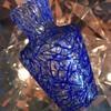 Victorian miniature Peloton glass vase with cobalt blue threads - Harrach