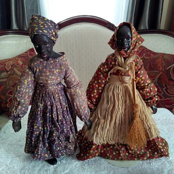 Black Americana Folk Bisque Dolls? Vintage? Antique? Rare? Collectable? - Dolls