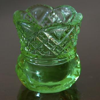 Vaseline Glass Toothpick holder - Glassware