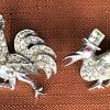 2 Little Art Deco Rhinestone Bird Brooches Rooster &  Duck