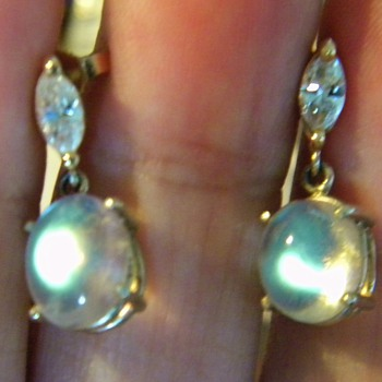 Antique Diamond Rarest Moonstone 14k Dangle Drop Earrings  - Fine Jewelry