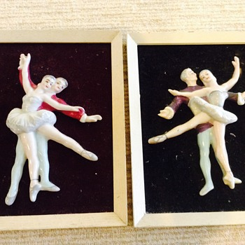 Framed china ballet figures - Fine Art