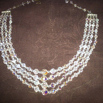 Grandma's vintage crystal necklace and clip earrings - Costume Jewelry