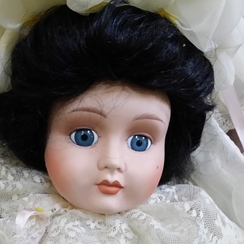 Need help identifying this antique bisque doll in rare custom made doll wedding dress with long train - Dolls