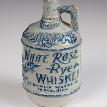 White Rose Rye Whiskey Advertising Stoneware Jug, c.1904 - Pottery