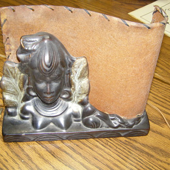 African or Polynesian Woman's Bust TV Lamp