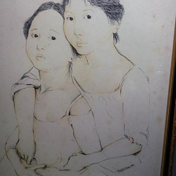 Oriental ink portrait painting signed by ????? Help  - Fine Art