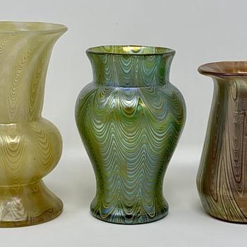 Trio of Loetz Phänomen Genre 6893 Vases in Consecutive PNs - Art Glass